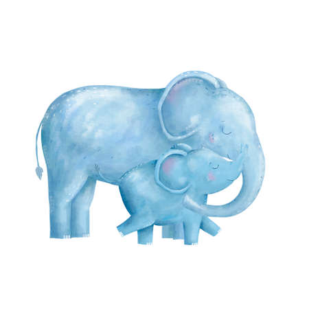 Elephant clip art digital animal of africa character illustration on white background drawing watercolor Standard-Bild - 120668060
