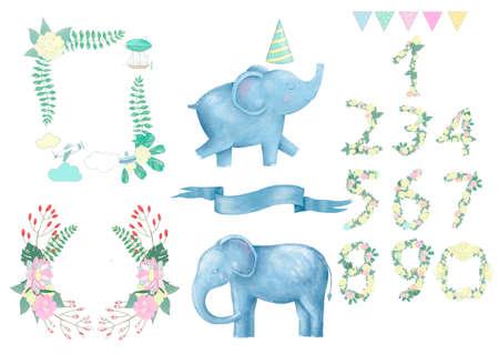 Elephant clip art digital animal drawing watercolor