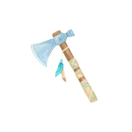 Axe indian digital art illustration axe with fethers amulet tribal weapon geometric white background Banco de Imagens