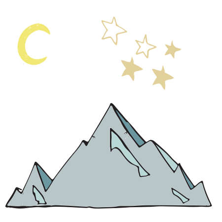 Iceberg stars Moon vector landscape vector illustration drawing shaddy style yellow color blue ice card place text design elements geometric on white background