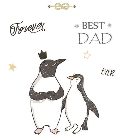 Best Dad, Happy Fathers Day, background with blue tie, ribbon and white shirt. Greeting card template. llustration. Иллюстрация