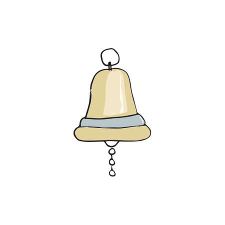 Bell digital art yellow bell of ship drawing illutration white background