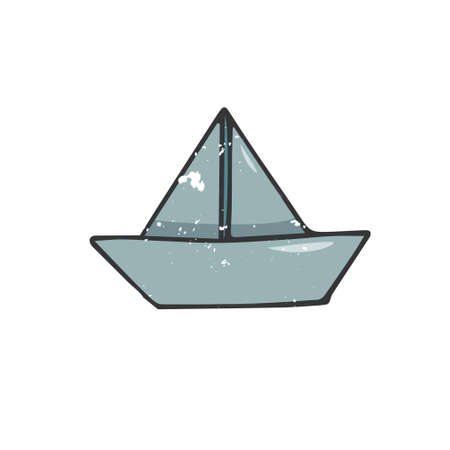 Paperboat illustration drawing shabby style geometric element blue boat water drawing clip art paper ship sea color texture on white background