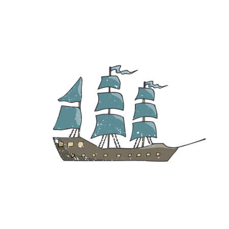 Sailing ship vector brown blue color vintage drawing ship pirets captain drive wood sailing ribbon font geometric elements old transport ocean sea travel windows mast hold illustration on white background. Illustration