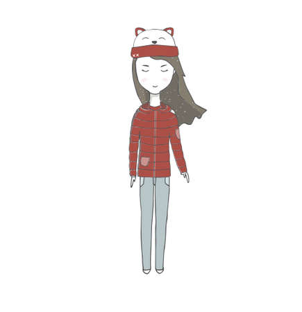 A girl in a sweater teacher in, jeans autumn clothing with long hair family person school baby student winter travel woman character drawing full-length illustration geometric white background