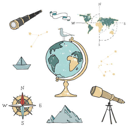 Globe, maps, compass and others school subjects. School and study subjects. Geography science vector illustration. Education and science banners. Иллюстрация
