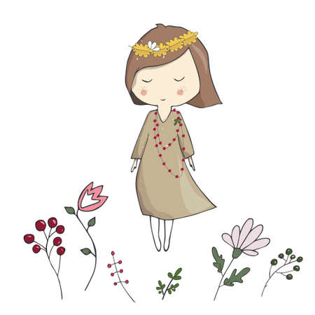 Girl with venokom flowers illustration vector land floral woman cute baby friendly full color texture leaf print autumn mood celebration greeting card geometric gardener white background.