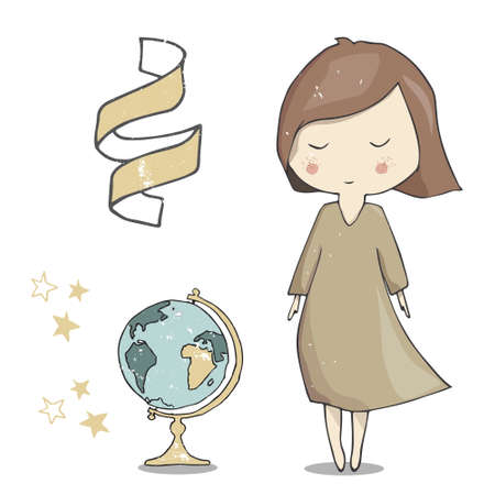 Girl and globe illustration vector ribbon day teachers school greeting pupil student navigator color geometric element friend woman dress full geography card celebration white background