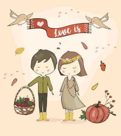 Boy and Girl together love autumn mood cute cartoon couple stand and smile to you. Иллюстрация
