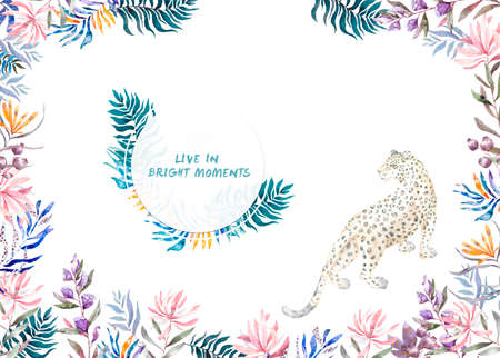 Watercolor exotic circle frame with tropical leaves, flowers and leopard for wedding, invite, birthday card, banner. Isolated illustrarion summer colors on background.