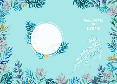 Watercolor exotic circle frame with tropical leaves, flowers and toucan for wedding, invite, birthday card. Isolated illustrarion summer colors on blue background. Retrospective.