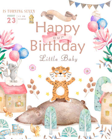 Happy birthday card with cute tiger Watercolor animal. Cute baby greeting card. Boho flowers and floral bouquets Happy Birthday set. Watercolor greeting baby clip art on white background.