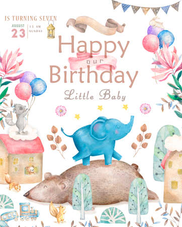 Happy birthday card with cute Elephant Watercolor animal. Cute baby greeting card. Boho flowers and floral bouquets Happy Birthday set. Watercolor greeting baby clip art on white background