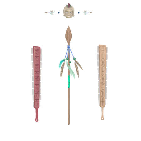 Spear weapons with feathers clip art tribal illustration digital drawing indians tool Stock Photo
