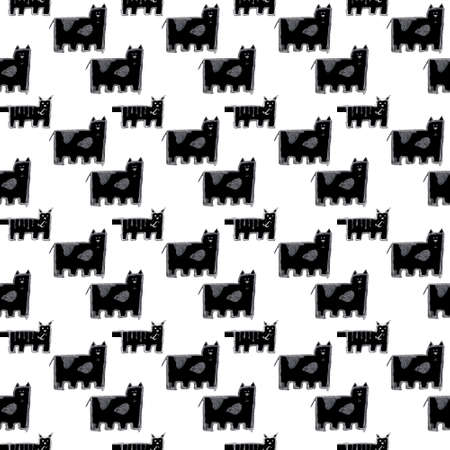 Doodle cats seamless pattern. Black and white cute background. Great for coloring book, wrapping, printing, fabric and textile.