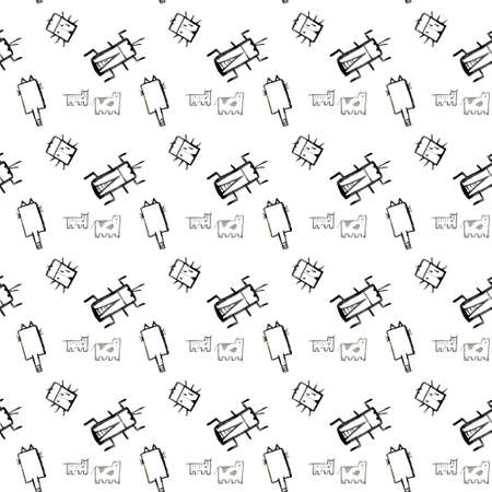 Insects doodle seamless pattern, background with bug, butterfly, ladybug, dragonfly wasp centipede Фото со стока