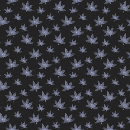 seamless pattern with hemp. Botanical hand drawn illustration with cannabis leaves isolated on white