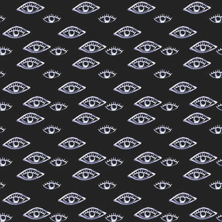 Seamless pattern with eyes and eyelashes. Ink illustration. Ornament for wrapping paper. Monochrome design.