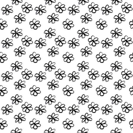 Seamless pattern of hand drawn sketch gerberas on white. Black ink daisy for fabrics, textile print, wrapping paper, season design, card, Фото со стока