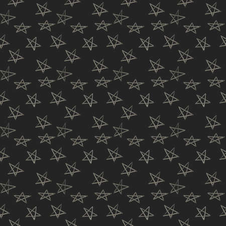 Hand drawn seamless star pattern with ink doodles. background