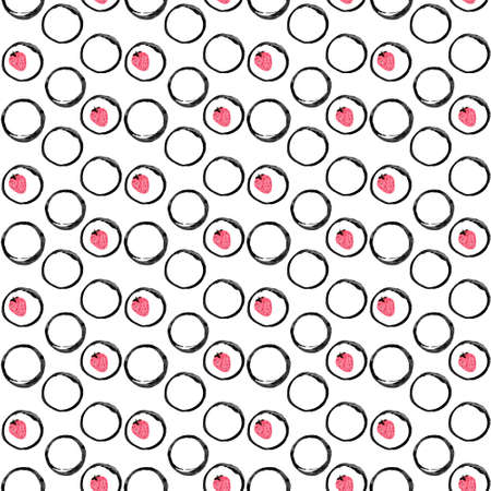 seamless polka dot pattern. Black and white polka dot ornament. Ink illustration. Hand drawn ornament for wrapping paper. Geometric pattern for wrapping