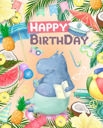 Birthday card with cartoon funny hippopotamus and red lollipop.  illustration. Reklamní fotografie