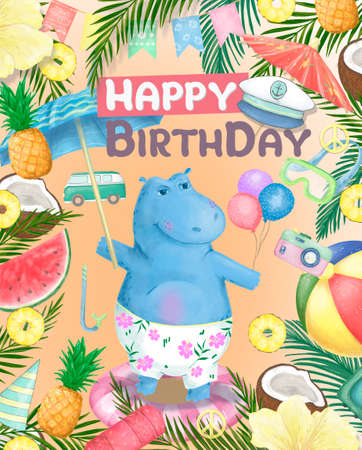 Cute Summer hippo on a skateboardvector illustration. Give me summer. Fun hippo print for birthday or Baby Shower party.Cutie hippo cartoon hand drawn Character