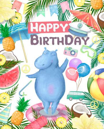 Birthday card with cartoon funny hippopotamus and red lollipop. illustration. Reklamní fotografie - 128764012