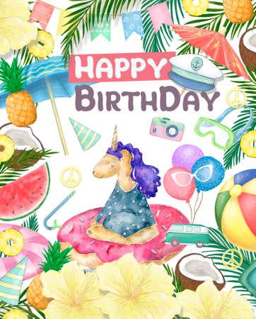 Watercolor isolated cute watercolor unicorn clipart. Nursery unicorns illustration. Princess unicorns poster. Trendy pink cartoon horse. Birthday invite.