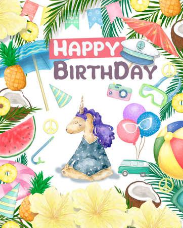 Watercolor isolated cute watercolor unicorn clipart. Nursery unicorns illustration. Princess unicorns poster. Trendy pink cartoon horse. Birthday invite. Reklamní fotografie - 128763999