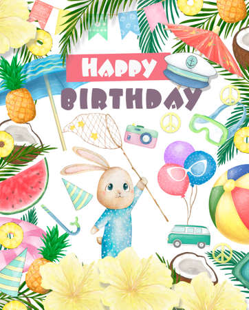 Cute happy birthday card with cartoon Bunny. Watercolor rabbit clip art and beauty boho pink flowers, floral. lamp light and leaf for Happy Easter on white background. Reklamní fotografie - 128764013