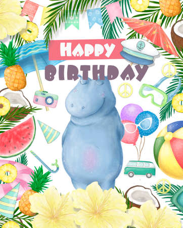 Birthday card with cartoon funny hippopotamus and red lollipop. illustration. Banque d'images - 130796772