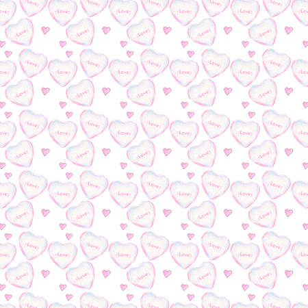 Hearts watercolor pattern on white background.