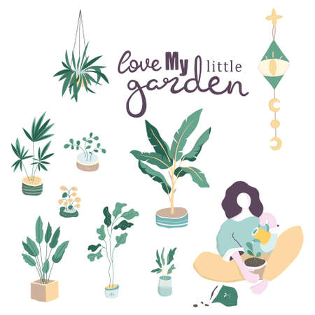 Long haired woman sitting among potted plants and zero unread messages notification symbols. Concept of solitude and loneliness on internet. Colorful vector illustration in contemporary art style.