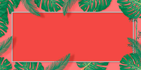 Tropical palm leaves frame on coral backdrop. Summer tropical leaf. Exotic hawaiian jungle, summertime background. Pastel monochrome art colorful minimal style,
