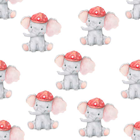 Cute elephant pattern. Seamless background with pink elephant cartoon character. Minimal baby or children print design Trend color nursery. On white background. Watercolor colorful brush