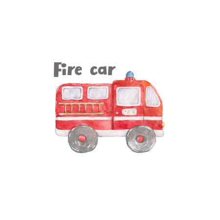 Watercolor cute set of fire engine cartoon colorful illustration on white background. Red rescue color. Baby clip art isolated kit, axe, fire, hydrant and house. Hand drawn clip art