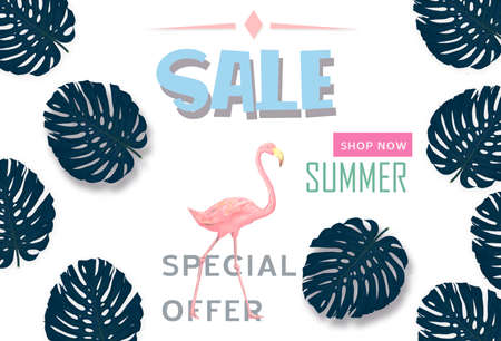 Summer sale banner with paper cut flamingo and tropical leaves background, exotic floral design for banner, flyer, invitation, poster, web site or greeting card. Paper cut, illustration