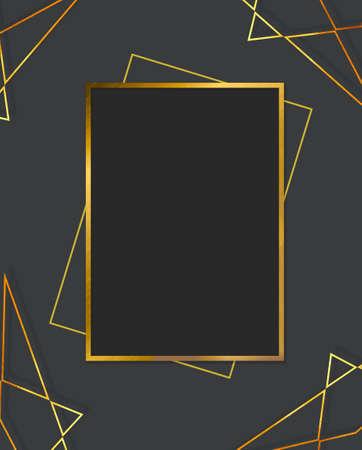 Modern card design. Hand drawn background. Gold, pink brochure, flyer, invitation template. Business identity style. Geometric shape