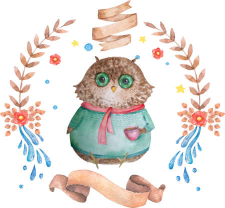 Vintage frame for your design with lovely owl and flowers. Cute cartoon illustration for wedding invitations and romantic cards, birthday and other holiday.