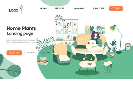 Web page template for freelance, work at home, online jobs and home office. Vector illustration in flat style for poster, banner and website development.