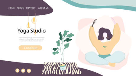 Web page template of Yoga Studio. Modern flat design concept of web page design for website and mobile website. Woman does yoga exercise, yoga pose Vector illustration Reklamní fotografie
