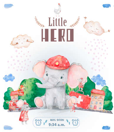 Little Hero welcome baby card. Watercolor cute illustration, colorful elephant on white background. Reklamní fotografie - 127957817