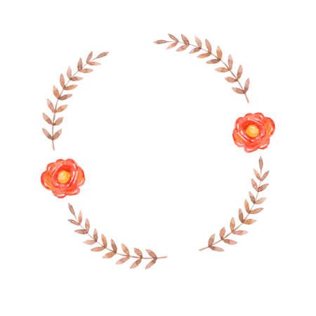 Floral card Design with green Eucalyptus fern leaves elegant greenery, herbs forest round, circle wreath beautiful cute rustic frame border print. garden illustration, Wedding Invitation