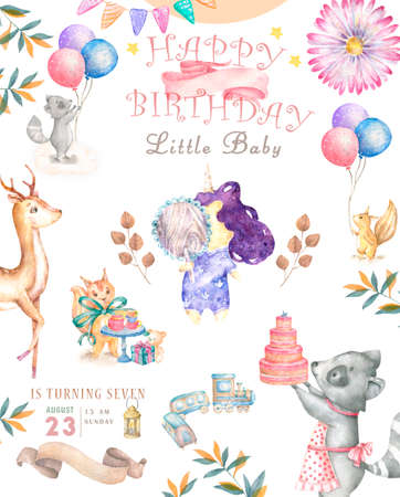 Watercolor isolated cute watercolor unicorn and sqirrel clipart. Nursery unicorns illustration. Princess unicorns poster. Trendy pink cartoon horse. Birthday invite Reklamní fotografie - 127957826