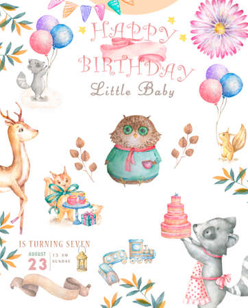 Watercolor cute Cartoon Owl. Cute baby greeting card. Boho flowers and floral bouquets Happy Birthday set. Watercolor greeting baby card on white background Reklamní fotografie - 127957823