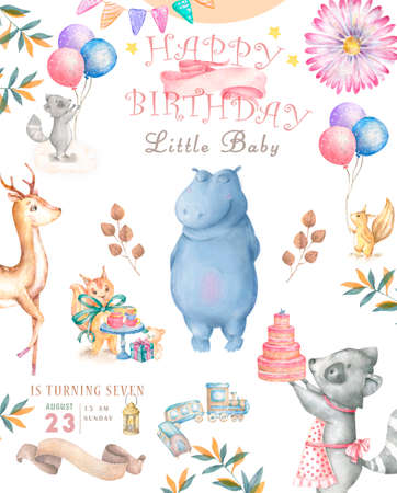 Cute happy birthday card with hippo. watercolor hippo and beauty pink flowers, floral and leaf for greeting card
