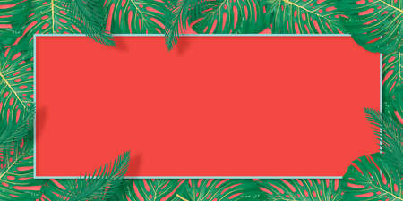 Tropical palm leaves frame on coral backdrop. Summer tropical leaf. Exotic hawaiian jungle, summertime background. Pastel monochrome art colorful minimal style, Reklamní fotografie - 127893045