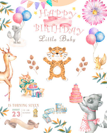 Happy birthday card with cute Croc Dandy Watercolor animal. Cute baby greeting card. Boho flowers and floral bouquets Happy Birthday set. Watercolor greeting baby clip art on white background Reklamní fotografie - 127957824