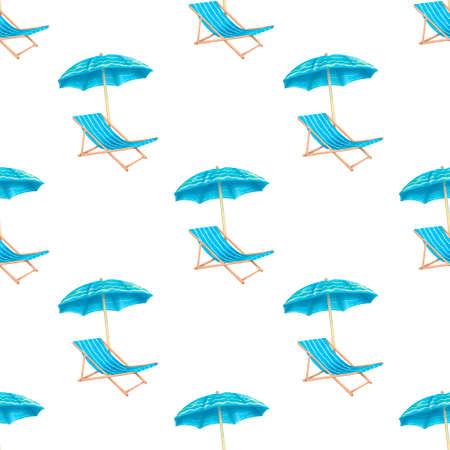 Sea summer beach, sun umbrellas, beach beds seamless pattern white background. Umbrella and deskchair on a beach in summer day vacation.  flat textile seamless pattern Reklamní fotografie - 128779428